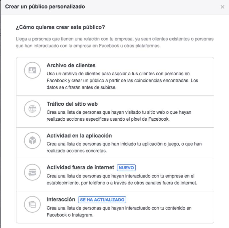 Crear público personalizado Facebok Ads